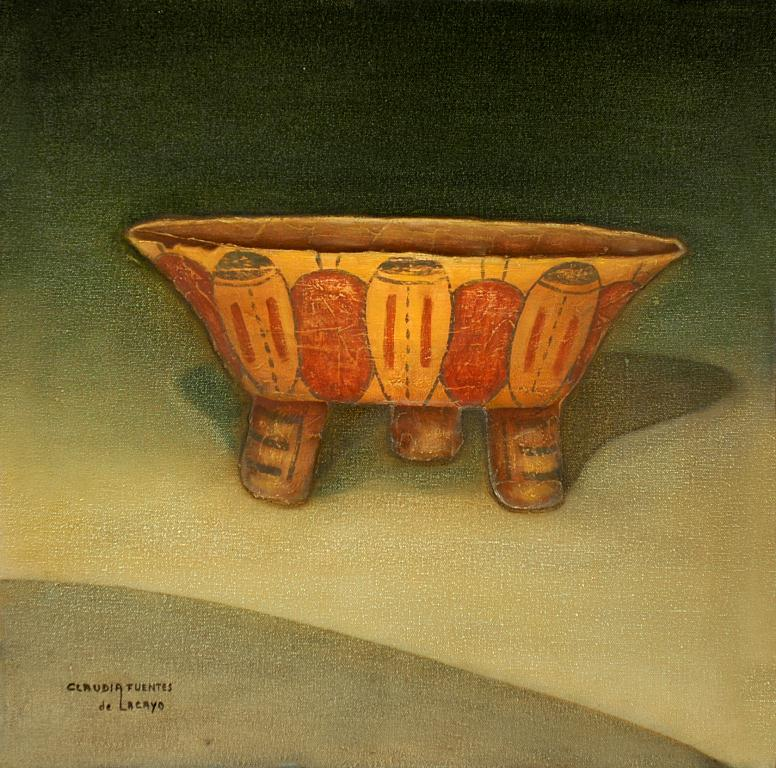 Tripod vessel painted on the tagüe and til manner, texturized oil on canvas, 50x50cm. 2006