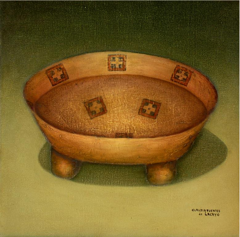 Water offering, texturized oil on canvas, 50x50cm. 2006.