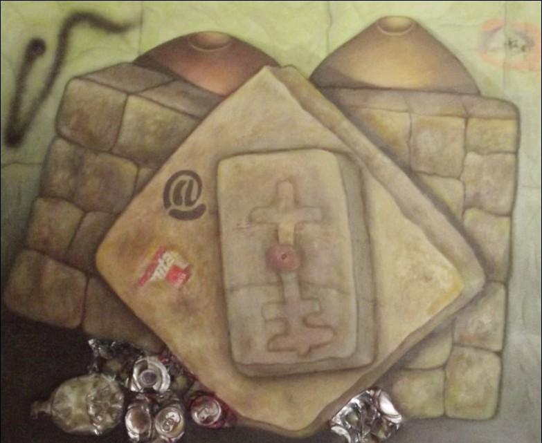 Claudia Fuentes de Lacayo, My district V, mived media on canvas, 2014. /Claudia Fuentes de Lacayo, Mi barrio V, óleo y mixta sobre lienzo.