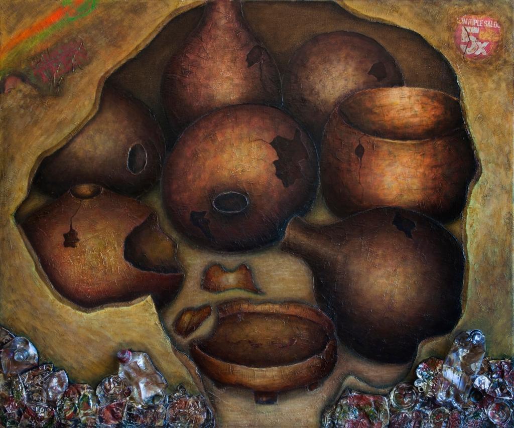 Claudia Fuentes de Lacayo, My district III, Mixed media on canvas, 2014.  / Claudia Fuentes de Lacayo, Mi barrio III, óleo y mixta sobre lienzo. 2014