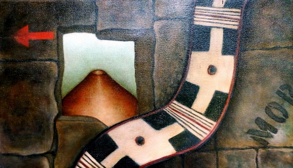 Claudia Fuentes de Lacayo, My district I, mived media on canvas, 2014. /Claudia Fuentes de Lacayo, Mi barrio I, óleo y mixta sobre lienzo.